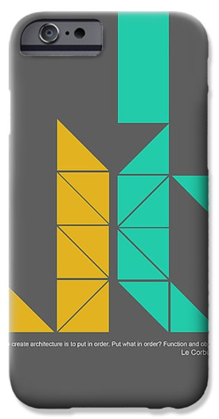 Forms Digital Art iPhone Cases - Le Corbusier Quote Poster iPhone Case by Naxart Studio