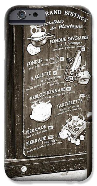 Le Grand Bistrot Menu iPhone Case by John Rizzuto