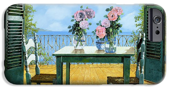 Chair Paintings iPhone Cases - Le Rose E Il Balcone iPhone Case by Guido Borelli