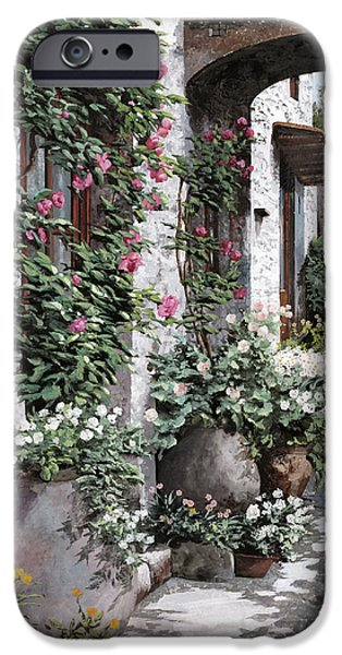 Green Roses iPhone Cases - Le Rose Rampicanti iPhone Case by Guido Borelli