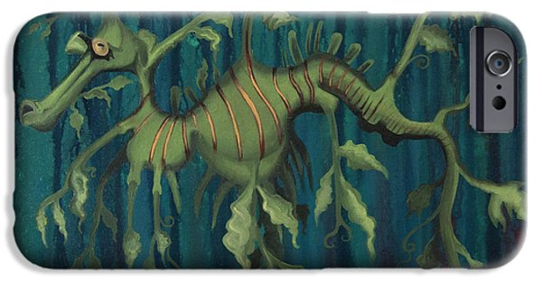 Creatures Paintings iPhone Cases - Leafy Sea Dragon iPhone Case by Kelly Jade King