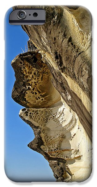 Holes In Sandstone iPhone Cases - Leaning Rock iPhone Case by Kaye Menner