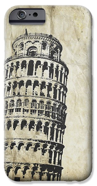 Rag iPhone Cases - Leaning Tower of Pisa on old paper iPhone Case by Setsiri Silapasuwanchai