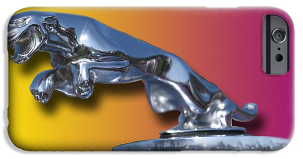 Car Mascot Digital iPhone Cases - Leaping Jaguar Mascot iPhone Case by Jack Pumphrey