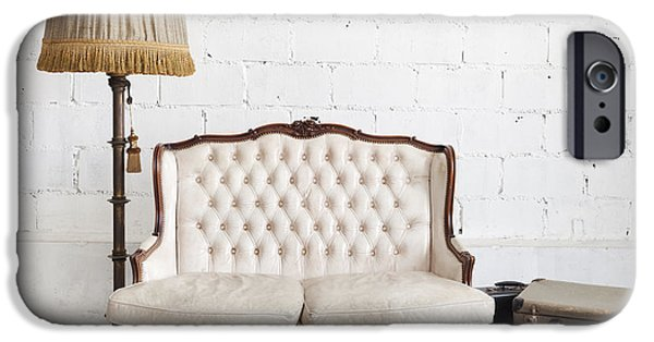 Antiques iPhone Cases - Leather Sofa In White Room iPhone Case by Setsiri Silapasuwanchai