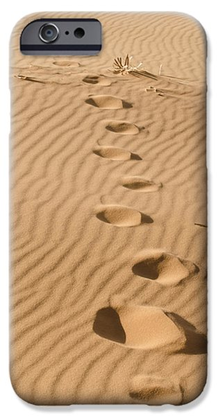 Old Fence Posts iPhone Cases - Leave only Footprints iPhone Case by Heather Applegate