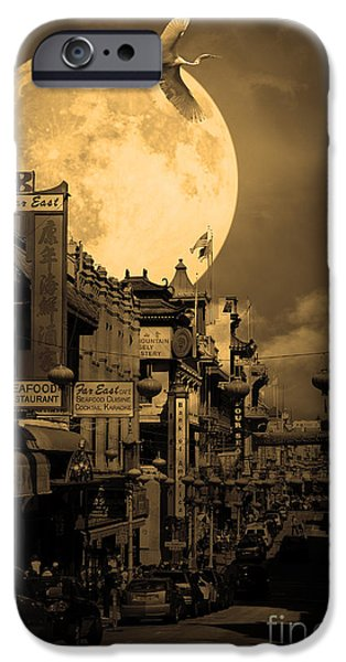 Snowy Night iPhone Cases - Legend of The Great White Phoenix of Chinatown . 7D7172 . Sepia iPhone Case by Wingsdomain Art and Photography
