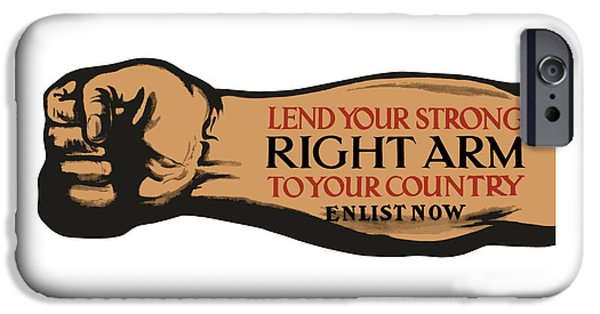 Recently Sold -  - Ww1 iPhone Cases - Lend Your Strong Right Arm To Your Country iPhone Case by War Is Hell Store