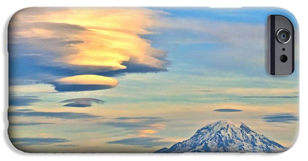 Lenticular Cloud And Mount Rainier iPhone Case by Sean Griffin