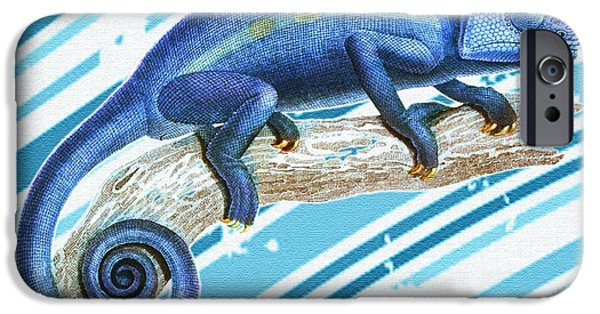 19th Century Digital Art iPhone Cases - Leo Loves Lizards iPhone Case by Nikki Marie Smith