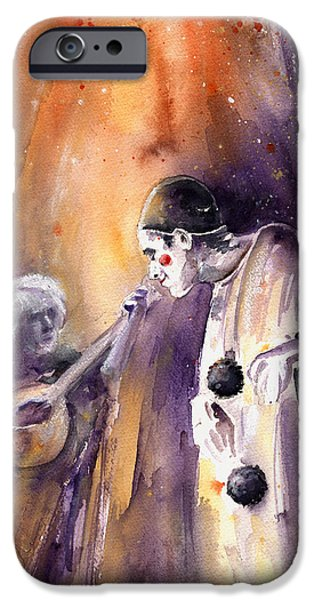 Must Art Paintings iPhone Cases - Leo Sayer in The Show Must Go On iPhone Case by Miki De Goodaboom