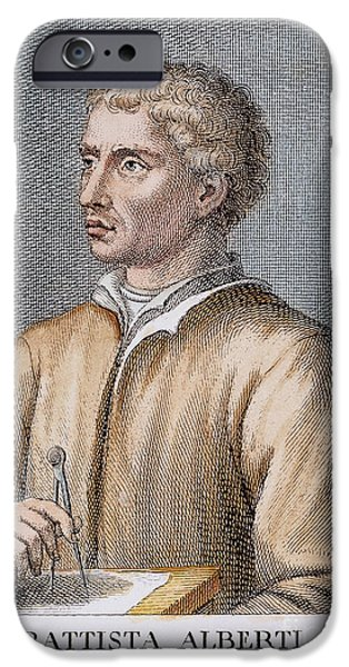 Painter Photographs iPhone Cases - LEONE BATTISTA ALBERTI (1404-1472). Italian mathematician, architect, painter, and writer. Italian copper engraving, 18th century iPhone Case by Granger