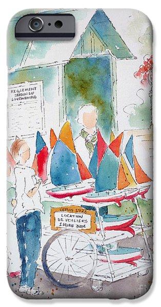 Toy Boat iPhone Cases - Les Voiliers Jardin du Luxembourg iPhone Case by Pat Katz