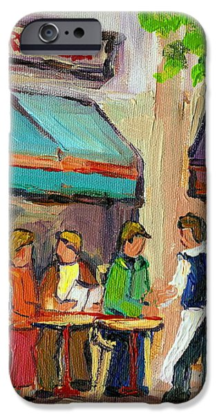 LESTER'S DELI MONTREAL CAFE SUMMER SCENE iPhone Case by CAROLE SPANDAU