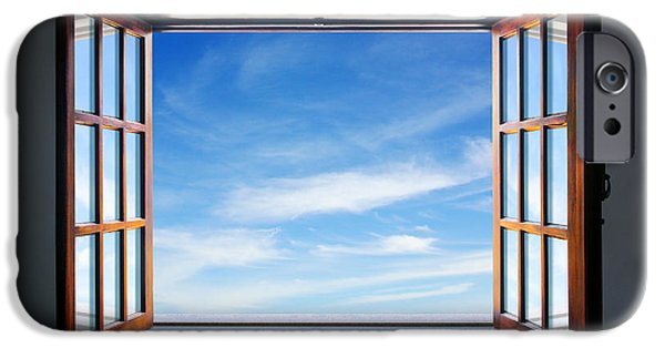 Curtains iPhone Cases - Let the blue sky in iPhone Case by Carlos Caetano