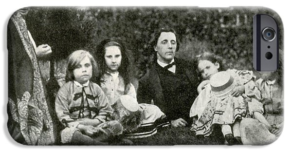 Alice In Wonderland iPhone Cases - Lewis Carroll, Mrs. George Macdonald & iPhone Case by Photo Researchers