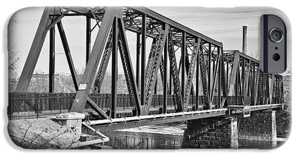 Androscoggin iPhone Cases - Lewiston-Auburn Railroad Bridge iPhone Case by Guy Whiteley
