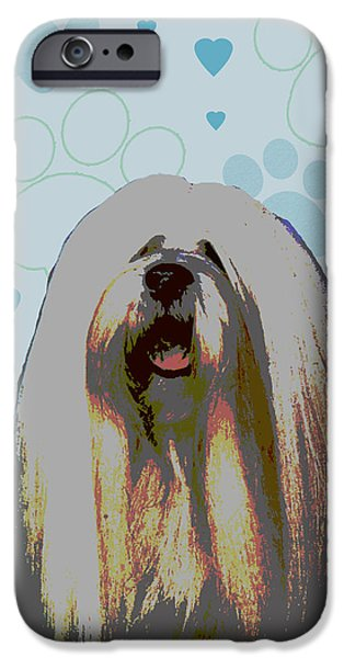 Puppy Digital iPhone Cases - Lhasa Apso iPhone Case by One Rude Dawg Orcutt