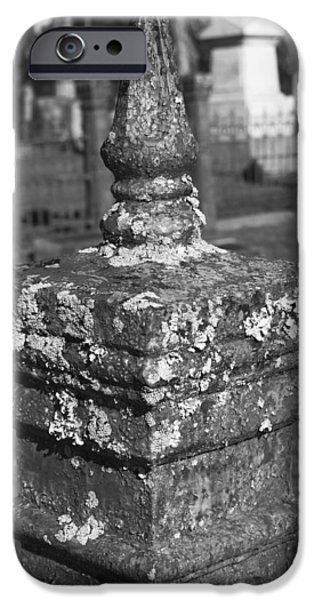 Recently Sold -  - Final Resting Place iPhone Cases - Lichen Encrusted Graveyard Corner Fence Post iPhone Case by Kathy Clark