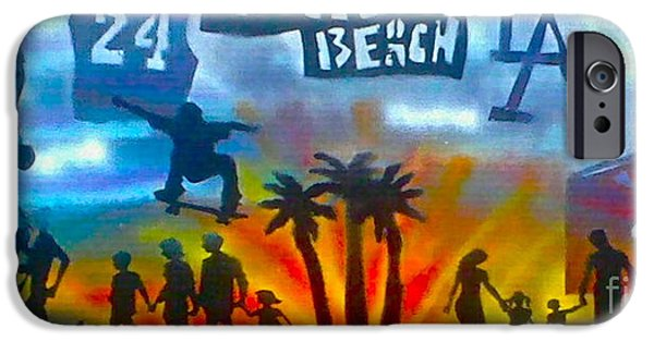 Kobe Paintings iPhone Cases - Lifes A Beach iPhone Case by Tony B Conscious