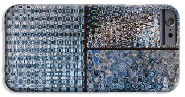 Abstracts From Nature iPhone Cases - Light Blue and Brown Textural Abstract iPhone Case by Carol Groenen