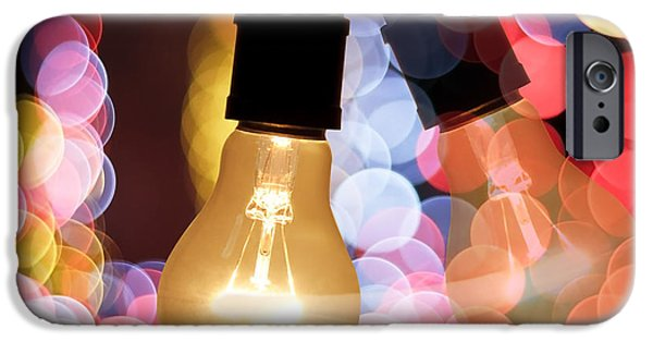Aperture Photographs iPhone Cases - Light Bulb And Bokeh iPhone Case by Setsiri Silapasuwanchai