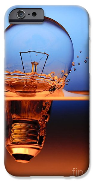Bulb iPhone Cases - Light Bulb And Splash Water iPhone Case by Setsiri Silapasuwanchai
