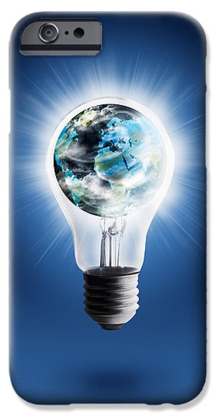 Technology iPhone Cases - Light Bulb With Globe iPhone Case by Setsiri Silapasuwanchai
