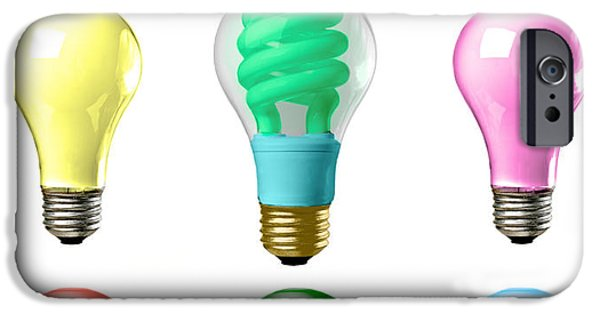 Business iPhone Cases - Light bulbs of a different color iPhone Case by Bob Orsillo