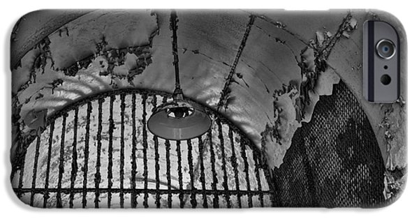 Scarface iPhone Cases - Light Fixture In Black And White iPhone Case by Paul Ward