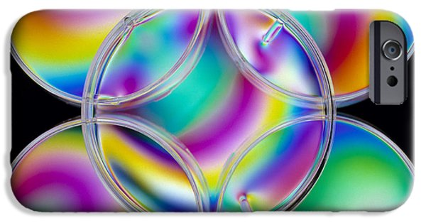 Shape iPhone Cases - Light Interference Stress Pattern On Petri Dishes iPhone Case by Dr Jeremy Burgess.