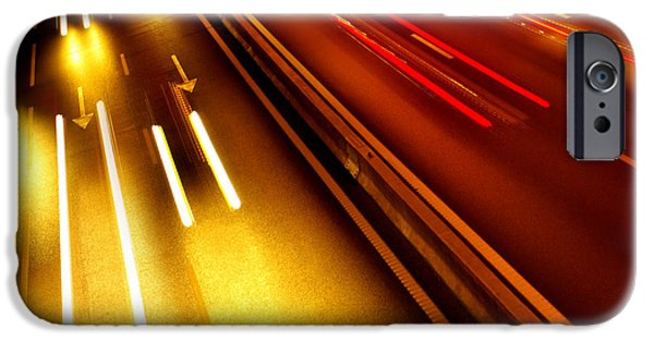 Asphalt iPhone Cases - Light Trails iPhone Case by Carlos Caetano
