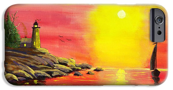 Sailboat Ocean iPhone Cases - Lighthouse and Sailboat Painting At Sunset iPhone Case by Keith Webber Jr