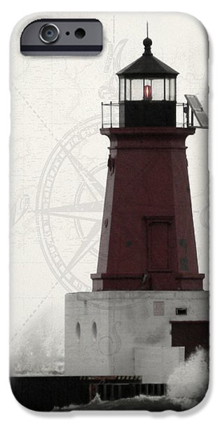 Chicago iPhone Cases - Lighthouse Compass iPhone Case by Mark J Seefeldt