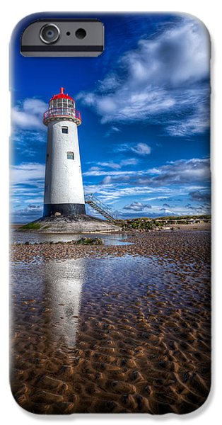 Red Rock iPhone Cases - Lighthouse Reflections iPhone Case by Adrian Evans