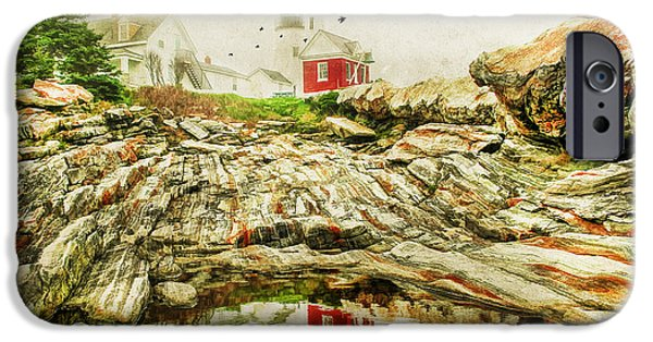 Rugged Coastline iPhone Cases - Lighthouse Reflections iPhone Case by Darren Fisher