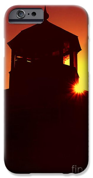 New England Lighthouse iPhone Cases - Lighthouse Sunset iPhone Case by Joann Vitali