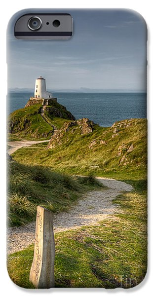 North Wales Digital Art iPhone Cases - Lighthouse Twr Mawr iPhone Case by Adrian Evans