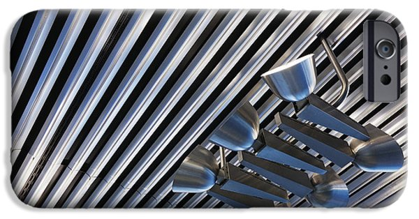 Stainless Steel iPhone Cases - Lighting on Corrugated Style Ceiling iPhone Case by Jeremy Woodhouse
