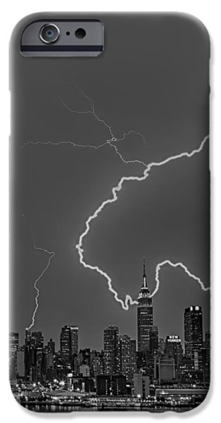 Summer iPhone Cases - Lightning Bolts Over New York City BW iPhone Case by Susan Candelario