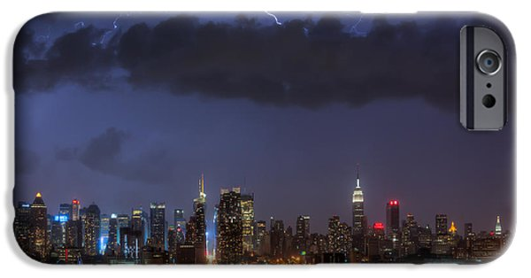 Electrical iPhone Cases - Lightning Over New York City I iPhone Case by Clarence Holmes