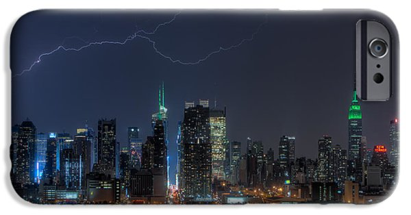 Big Al iPhone Cases - Lightning Over New York City IX iPhone Case by Clarence Holmes