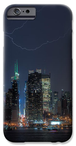 Lightning Over New York City IX iPhone Case by Clarence Holmes