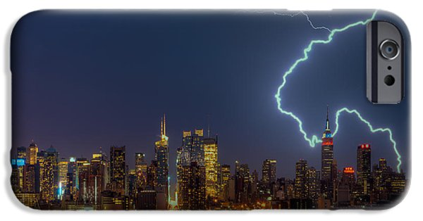 Electrical iPhone Cases - Lightning Over New York City VII iPhone Case by Clarence Holmes