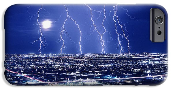 Electrical iPhone Cases - Lightning Over Tucson, Usa iPhone Case by Keith Kent
