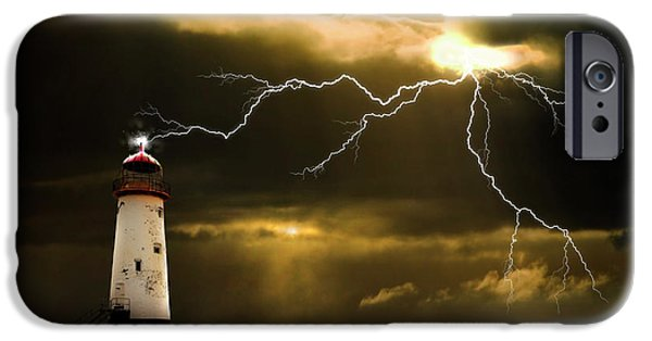 Lighthouses iPhone Cases - Lightning Storm iPhone Case by Meirion Matthias