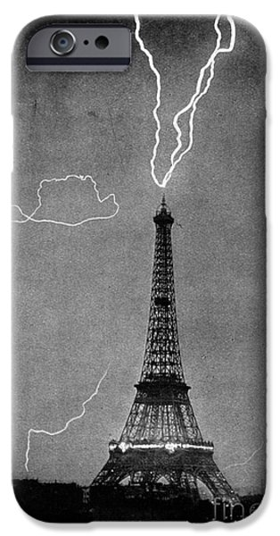 Electrical iPhone Cases - Lightning Strikes Eiffel Tower, 1902 iPhone Case by Science Source