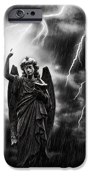 Stone Carving iPhone Cases - Lightning Strikes the Angel Gabriel iPhone Case by Amanda And Christopher Elwell