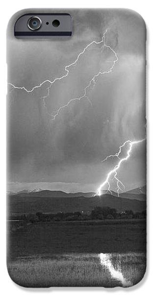 Lightning Striking Longs Peak Foothills 2BW iPhone Case by James BO  Insogna