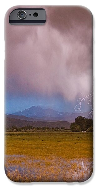 Lightning Images iPhone Cases - Lightning Striking Longs Peak Foothills 7C iPhone Case by James BO  Insogna